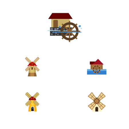 barn wood: Flat Icon Mill Set Of Ecology, Watermill, Wheel And Other Vector Objects. Also Includes Wheel, Waterwheel, Propeller Elements.