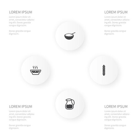 Icon Food Set Of Cornflakes, Soup, Milk Pitcher And Other Vector Objects. Also Includes Cornflakes, Hot, Broth Elements. Çizim