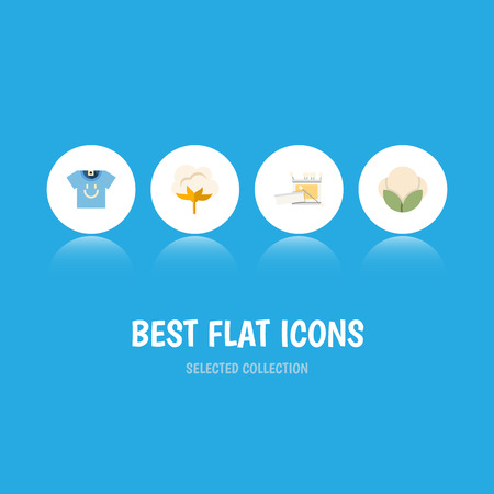 Flat Icon Fiber Set Of Blouse, Fiber, Knitting And Other Vector Objects. Also Includes Cotton, Knitting, Clothes Elements.