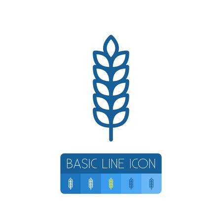 Isolated Barley Outline. Spike Vector Element Can Be Used For Barley, Spike, Sheaf Design Concept. Illustration