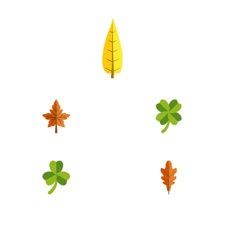 Flat Icon Foliage Set Of Linden, Alder, Leafage And Other Vector Objects. Also Includes Linden, Foliage, Frond Elements.