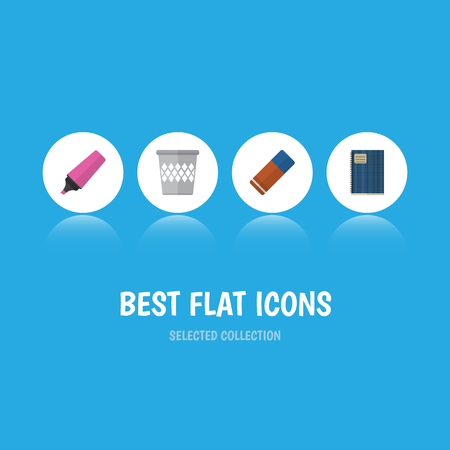 Flat Icon Stationery Set Of Copybook, Rubber, Trashcan And Other Vector Objects. Also Includes Rubber, Trashcan, Tool Elements. Illustration