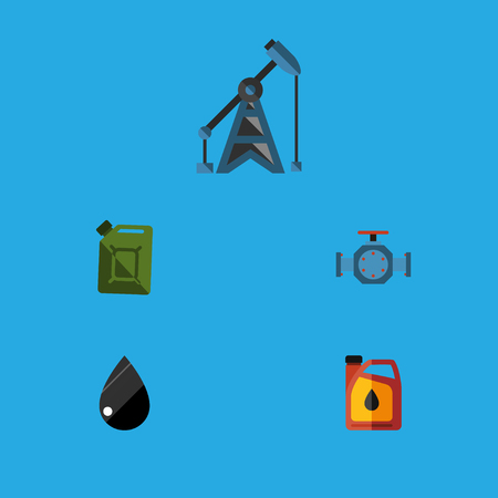Flat Icon Oil Set Of Jerrycan, Flange, Droplet And Other Vector Objects. Also Includes Liquid, Pipe, Rig Elements.