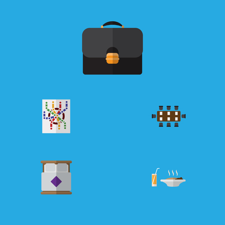 Flat Icon Lifestyle Set Of Briefcase, Mattress, Router And Other Vector Objects. Also Includes Handbag, Bed, Food Elements.