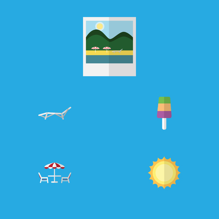 Flat Icon Season Set Of Reminders, Sundae, Recliner And Other Vector Objects. Also Includes Beach, Ice, Chaise Elements. Illustration