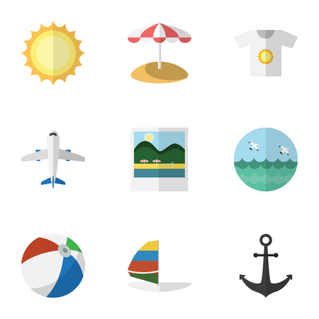 Flat Icon Season Set Of Clothes, Sphere, Reminders And Other Vector Objects. Also Includes Beach, Sunshine, Sailboard Elements. Illustration