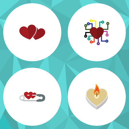 Flat Icon Amour Set Of Soul, Fire Wax, Emotion And Other Vector Objects. Also Includes Soul, Heart, Love Elements.