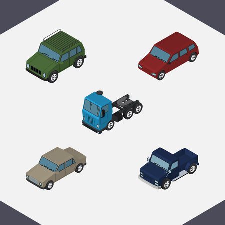 Isometric Car Set Of Suv, Armored, Car And Other Vector Objects. Also Includes Motor, Suv, Armored Elements.