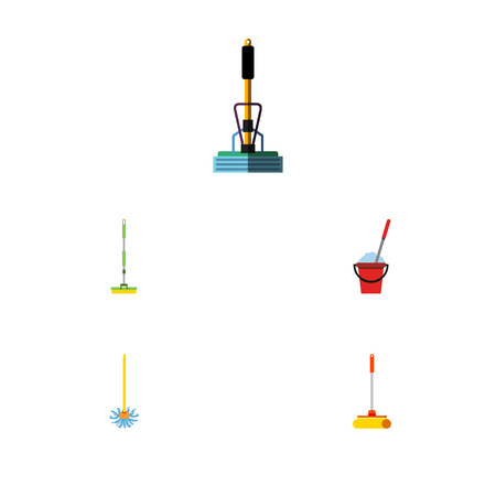 scrubbing: Flat Icon Mop Set Of Broomstick, Cleaner, Equipment And Other Vector Objects. Also Includes Cleaner, Bucket, Broom Elements. Illustration