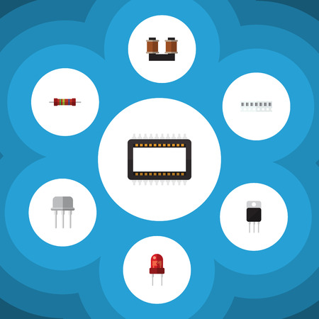 Flat Icon Electronics Set Of Memory, Coil Copper, Resistance And Other Vector Objects. Also Includes Receiver, Recipient, Resistor Elements.