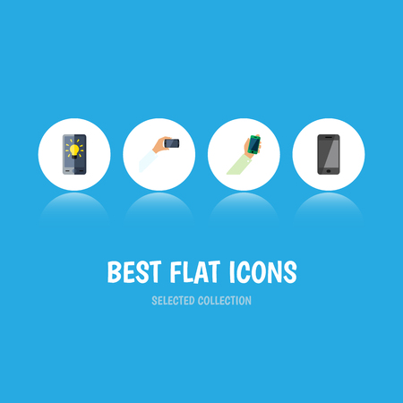 Flat Icon Smartphone Set Of Screen, Keep Phone, Smartphone And Other Vector Objects. Also Includes Phone, Brightness, Screen Elements. Illustration