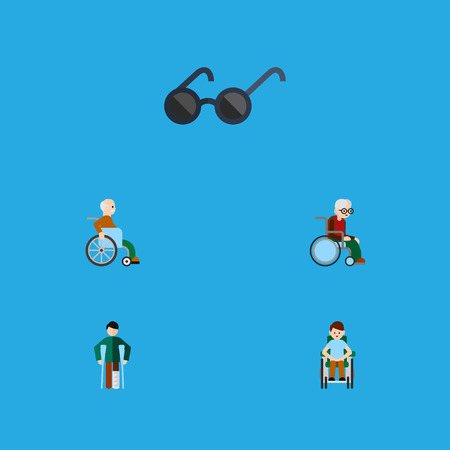 Flat Icon Handicapped Set Of Wheelchair, Disabled Person, Handicapped Man Vector Objects. Also Includes Wheelchair, Eyeglasses, Sunglasses Elements. Illustration