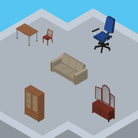 settee: Isometric Design Set Of Cabinet, Couch, Drawer And Other Vector Objects. Also Includes Sideboard, Furniture, Cabinet Elements. Illustration