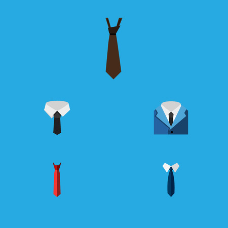 Flat Icon Tie Set Of Tie, Suit, Textile And Other Vector Objects. Also Includes Tie, Suit, Fashion Elements. Illustration
