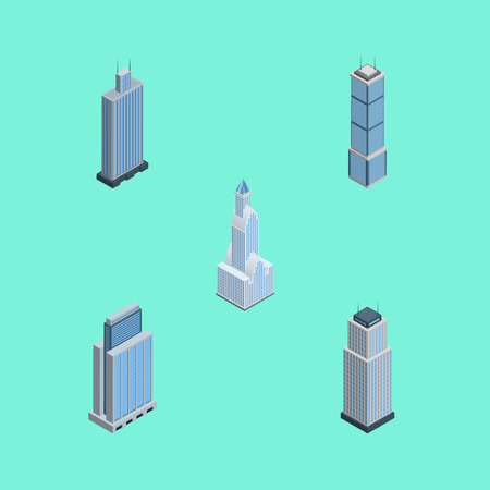 Isometric Building Set Of Urban, Cityscape, Tower And Other Vector Objects. Also Includes Apartment, Center, Residential Elements. Illustration