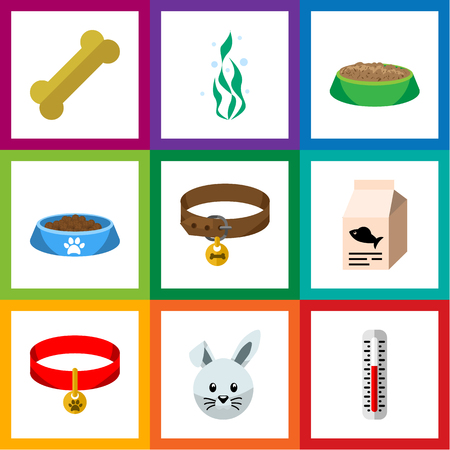Flat Icon Animal Set Of Cat  Eating, Hound Necklace, Kitty Collar And Other Vector Objects. Also Includes Thermometer, Seaweed, Temperature Elements.