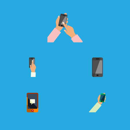 Flat Icon Phone Set Of Telephone, Keep Phone, Interactive Display And Other Vector Objects. Also Includes Keep, Chatting, Telephone Elements.
