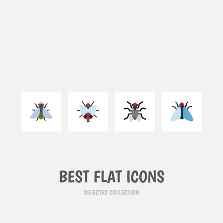 Flat Icon Fly Set Of Fly, Housefly, Buzz And Other Vector Objects