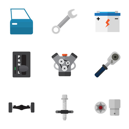 Flat Icon Auto Set Of Accumulator, Ratchet, Turnscrew And Other Vector Objects. Also Includes Spanner, Wrench, Accumulator Elements.