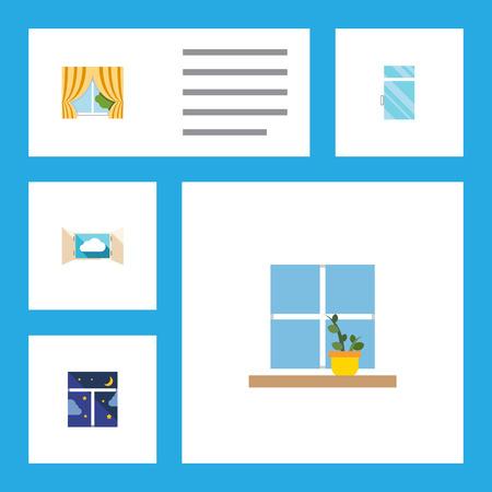 Ensemble d'icônes plat fenêtre de verre, nuage, pot de fleurs et autres objets vectoriels