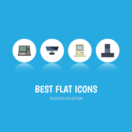 Flat Icon Laptop Set Of Technology, PC, Processor And Other Vector Objects. Also Includes Retro, Vintage, Computing Elements. Illustration