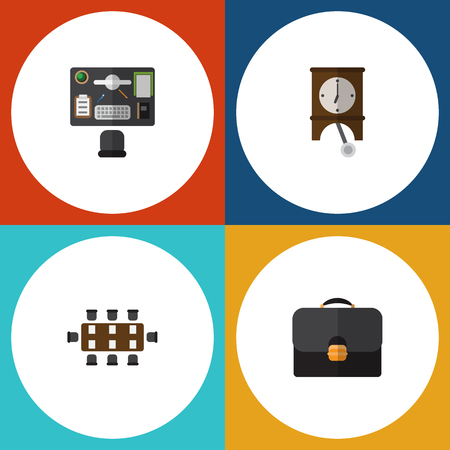 pendulum: Flat Icon Lifestyle Set Of Clock, Briefcase, Boardroom And Other Vector Objects. Also Includes Suitcase, Office, Pendulum Elements. Illustration