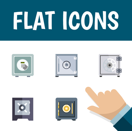 strongbox: Flat Icon Closed Set Of Protection, Saving, Security And Other Vector Objects. Also Includes Saving, Locked, Strongbox Elements.