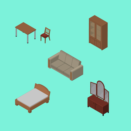 Isometric Design Set Of Chair, Couch, Bedstead And Other Vector Objects. Also Includes Sideboard, Bedstead, Cupboard Elements.