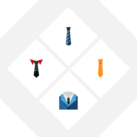 Flat Icon Necktie Set Of Tailoring, Cravat, Clothing And Other Vector Objects. Also Includes Collar, Clothing, Shirt Elements. Illustration