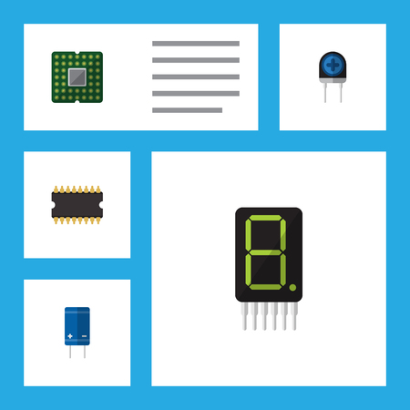 Flat Icon Electronics Set Of Calculate, Transistor, Transducer And Other Objects Including Transistor, Display, Electronics Elements. Illustration