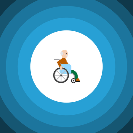 Handicapped Man Vector Element Can Be Used For Handicapped, Man, Disabled Design Concept.  Isolated Disabled Person Flat Icon.  Illustration