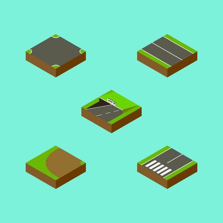 아이소 메트릭 웨이 터 닝, 플랫, 사거리 및 다른 벡터 객체의 설정.