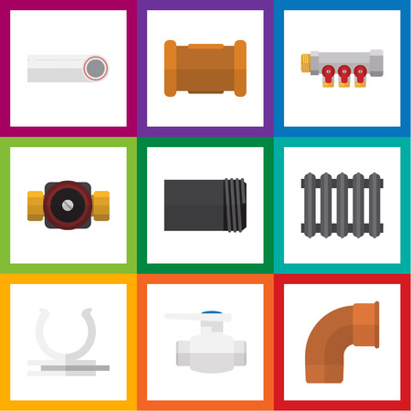 culvert: Flat Icon Plumbing Set Of Flange, Heater, Tap And Other Vector Objects.
