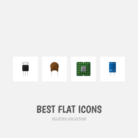 Flat Icon Appliance Set Of Transistor, Receiver, Triode And Other Vector Objects. Illustration