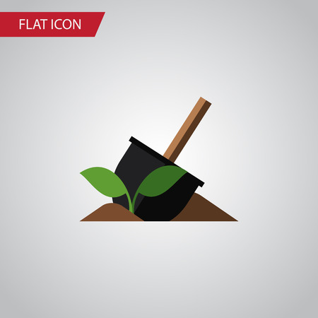 Soil Vector Element Can Be Used For Soil, Sowing, Shovel Design Concept.  Isolated Shovel Flat Icon. Illustration