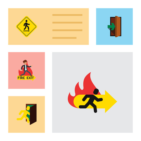 Flat Icon Exit Set Of Open Door, Direction Pointer, Entrance And Other Vector Objects. Illustration