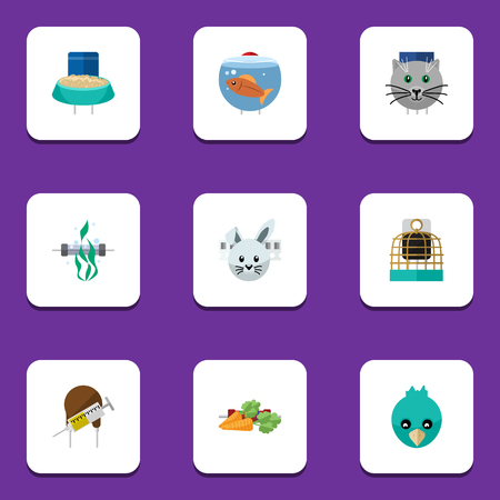 Flat Icon Pets Set Of Fishbowl, Root Vegetable, Seaweed And Other Vector Objects. Illustration