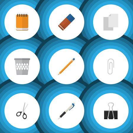 stapled: Flat Icon Tool Set Of Drawing Tool, Sheets, Rubber And Other Vector Objects. Illustration