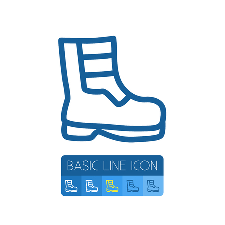 Shoes Vector Element Can Be Used For Boots, Shoes, Footwear Design Concept.  Isolated Boots Outline. Illustration