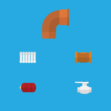Flat Icon Industry Set Of Radiator, Container, Iron And Other Vector Objects. Illustration