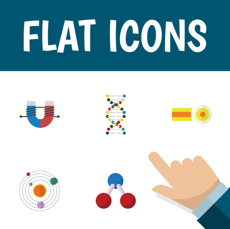 Flat Icon Study Set Of Genome, Chemical, Milky Way And Other Vector Objects. Illustration
