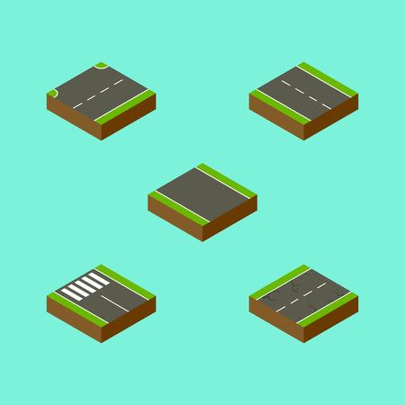 等尺性道路設定のないストリップ、ストリップ、上方およびその他ベクトル オブジェクト。  イラスト・ベクター素材