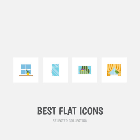 Flat Icon Window Set Of Glass Frame, Flowerpot, Clean And Other Vector Objects