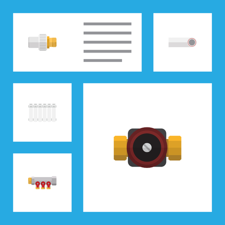 Flat Icon Pipeline Set Of Tap, Industry, Pipework And Other Vector Objects Illustration