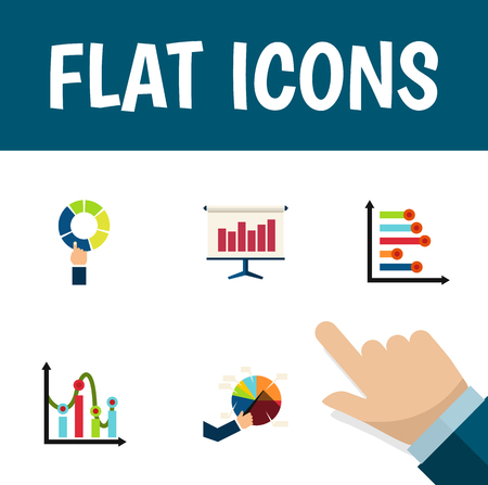 relational: Flat Icon Chart Set Of Pie Bar, Infographic, Chart And Other Vector Objects
