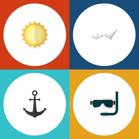 Set of summer icons. 向量圖像