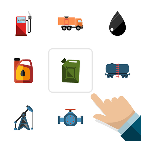 Flat Icon Fuel Set Of Droplet, Fuel Canister, Van And Other Vector Objects Illustration