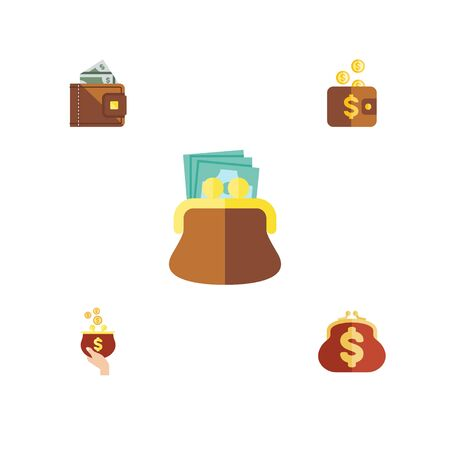 pouch: Flat Icon Purse Set Of Payment, Pouch, Saving And Other Vector Objects