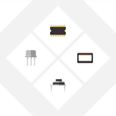 Flat Icon Technology Set Of Microprocessor, Mainframe, Destination And Other Vector Objects Illustration