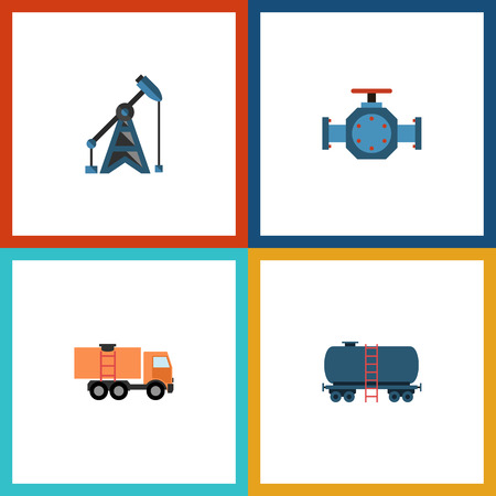 Flat Icon Oil Set Of Van, Container, Rig And Other Vector Objects